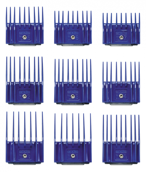 Zestaw plastikowych grzebieni Andis z metalowym klipsem - zestaw I (1,5-14 mm) 2